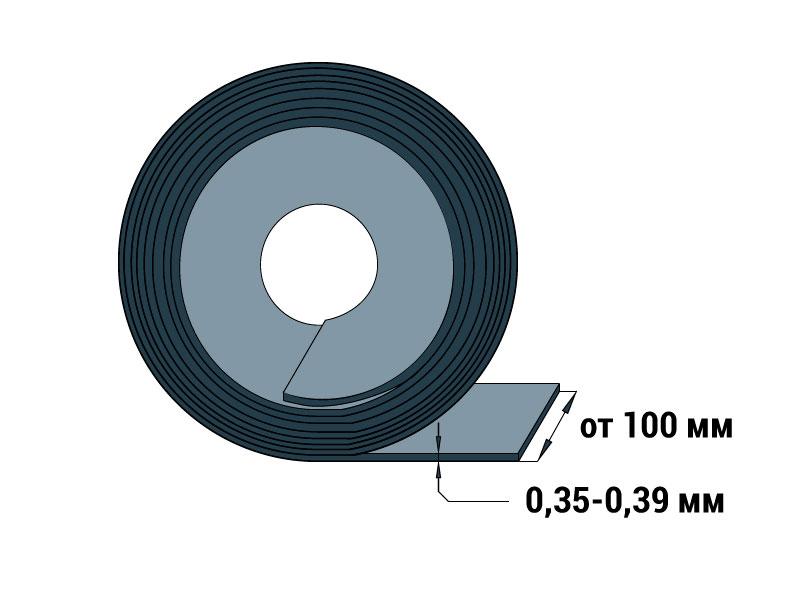 Лента холоднокатаная 0,35-0,39 мм ГОСТ ТУ 14-4-1207-83 шириной 100 мм и более Сталь 20, 40, 50, 65Г вытяжка - ВГ состояние - ОМ точность - В, Ш