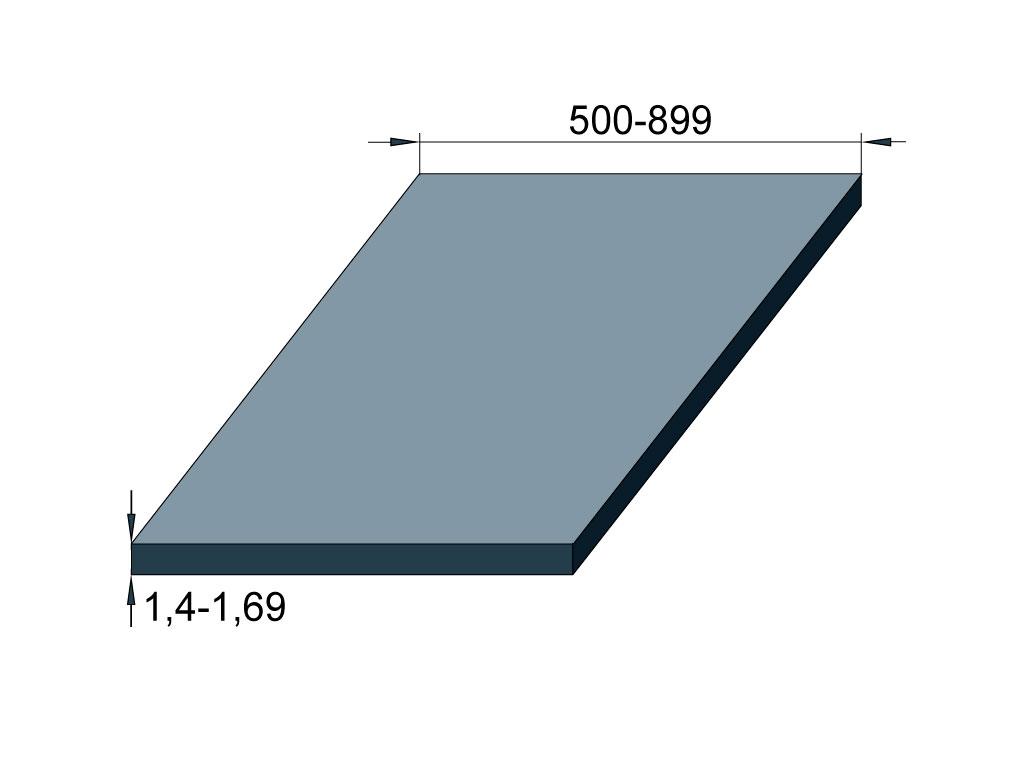 Лист холоднокатаный 1,4-1,69 ТУ 14-101-496 if - сталь , II группа отделки поверхности, 1-3 категория, Нормальная - БТ